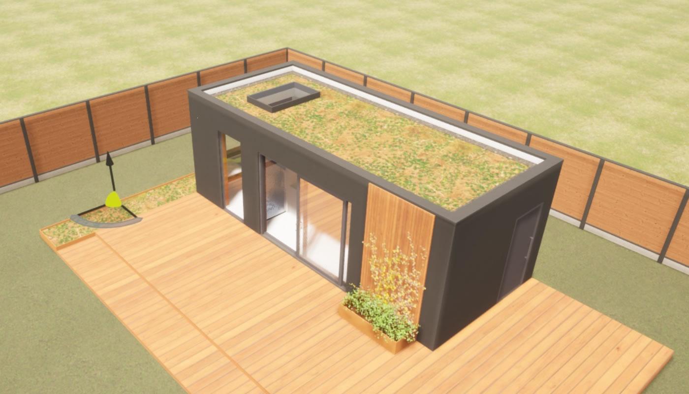 Thuiswerken in een tuinkantoor